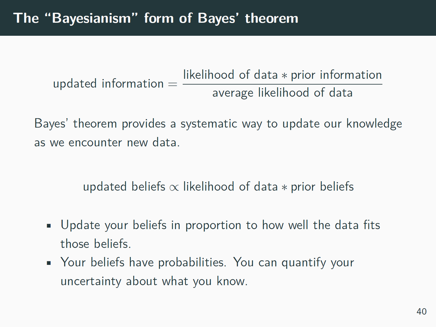 Slide where I explain 'Bayesianism'